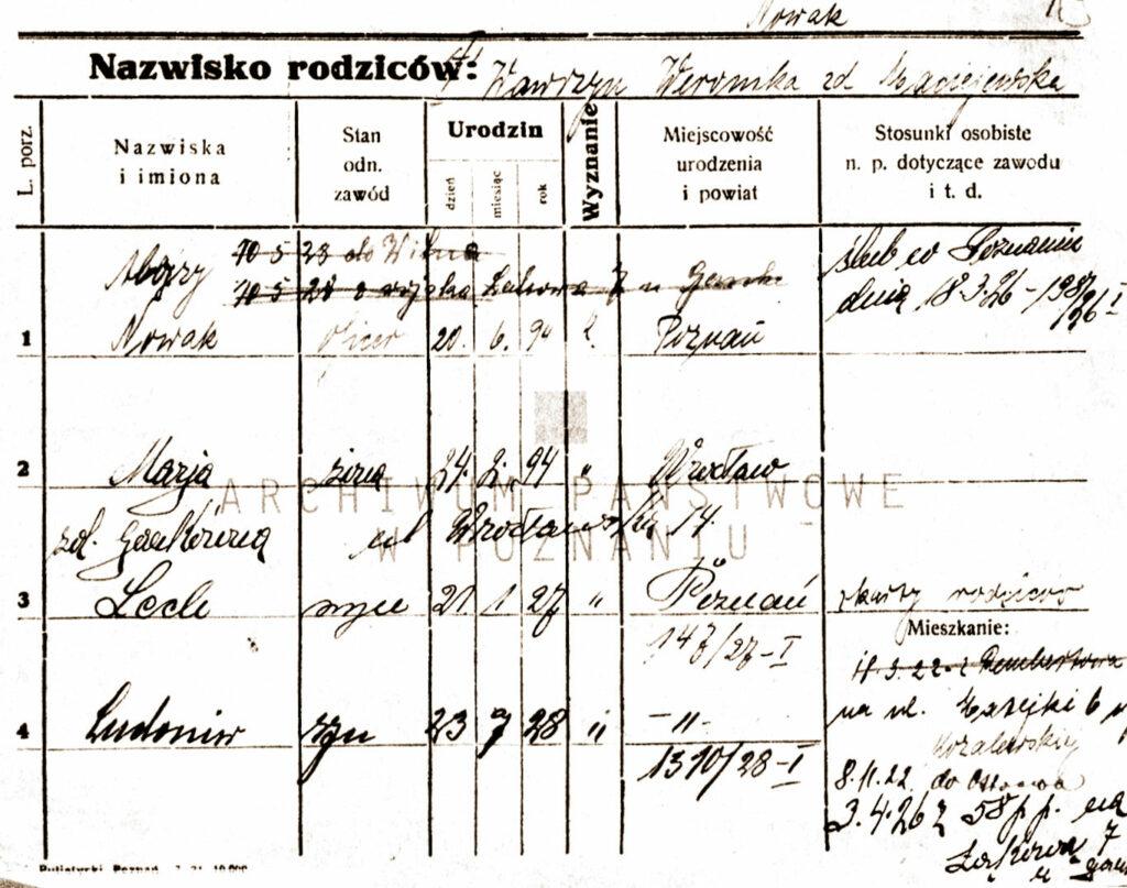 Kartoteka meldunkowa rodziny Nowaków w Poznaniu