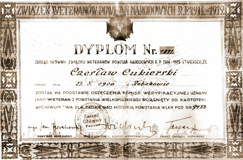 Czesław Cukierski (dokument udostępnił Remigiusz Maćkowiak)