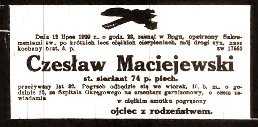 Czesław Maciejewski - nekrolog