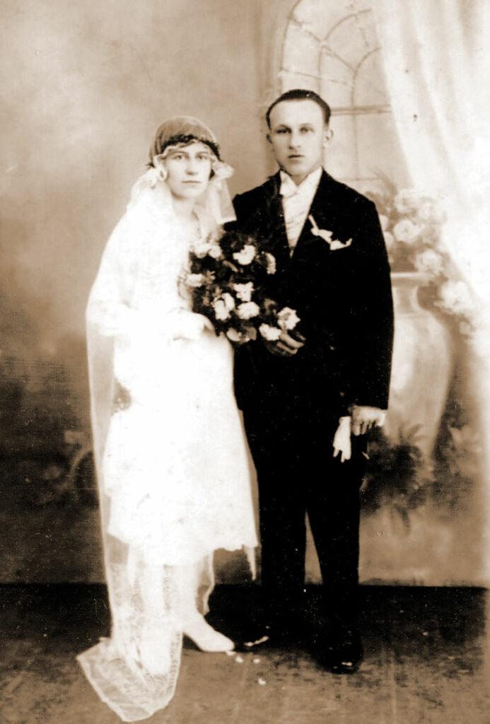 Feliks Walkowiak z Marianną Sobucką, ślub w 1929 r.
