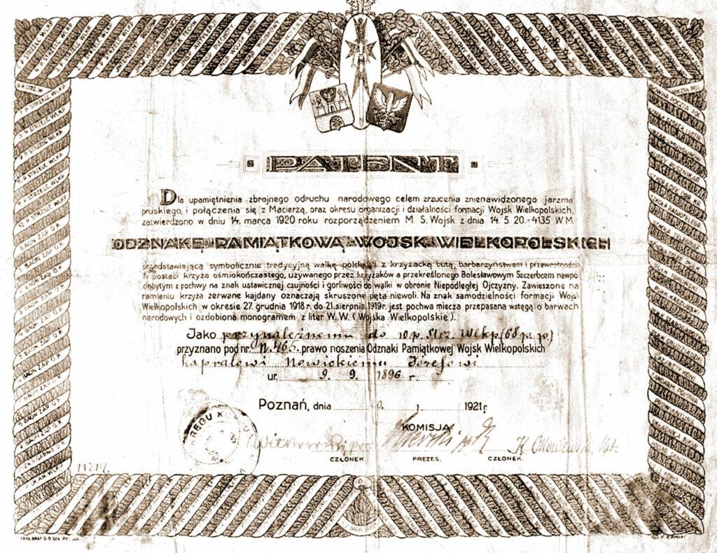 Patent poświadczający uczestnictwo w Powstaniu Wielkopolskim i zezwalający na używanie odznaki Wojsk Wielkopolskich.
