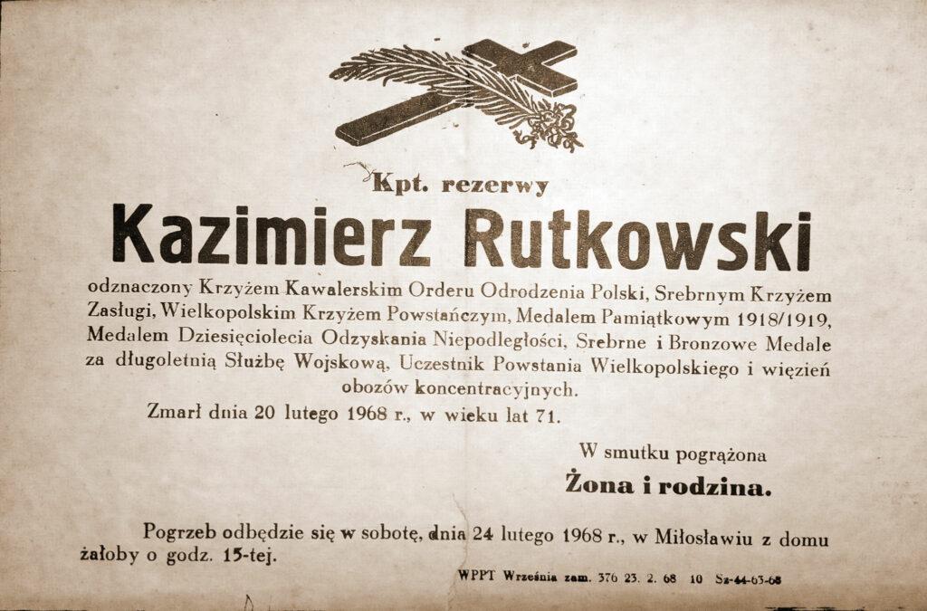 Kazimierz Rutkowski nekrolog (udostępnił Remigiusz Maćkowiak)