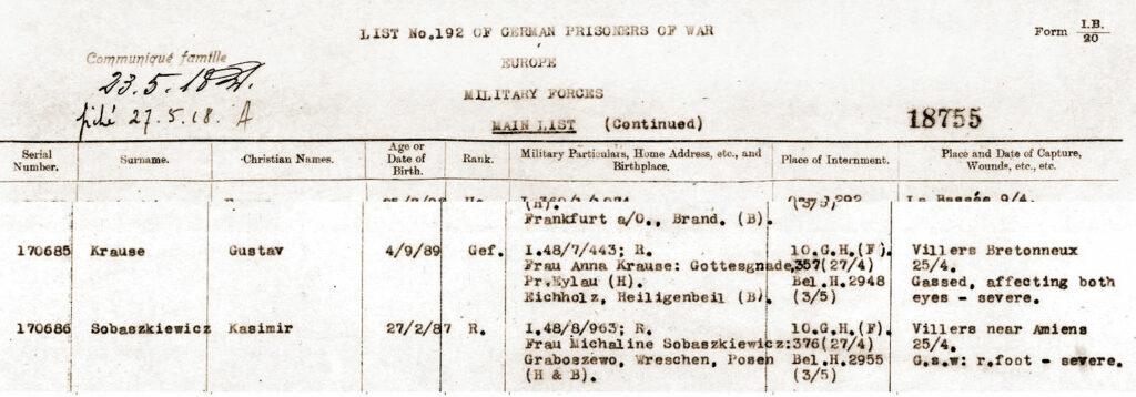 Zapis w angielskiej księdze jeńców wojennych.