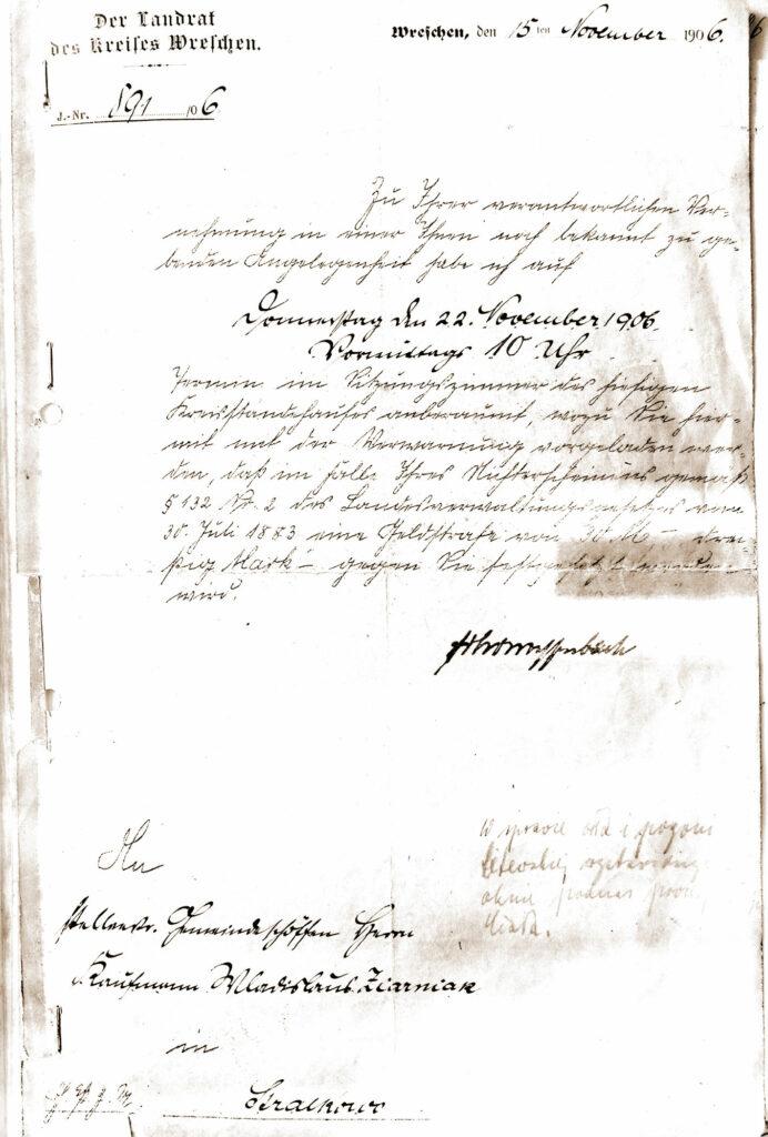 Upomnienie pruskich władz powiatowych w sprawie wystawienia przez Władysława Ziarniaka w oknie wystawowym orła i litewskiej pogoni, podczas procesji Bożego Ciała.