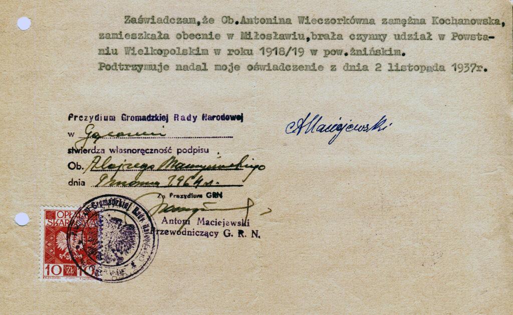 Antonina Kochanowska (dokument udostępnił Remigiusz Maćkowiak)