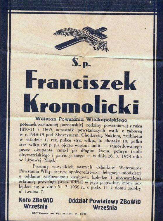 Franciszek Kromolicki - nekrolog (dokument udostępnił Remigiusz Maćkowiak)