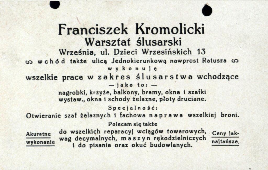 Franciszek Kromolicki (dokument udostępnił Remigiusz Maćkowiak)