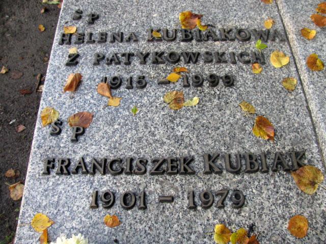 Franciszek Kubiak -  cmentarz  centralny w Gliwicach (zdjęcie udostępnił Remigiusz Maćkowiak)