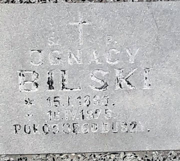 Ignacy Bilski - cmentarz w Ząbkowicach Śląskich (zdjęcie udostępnił Remigiusz Maćkowiak)