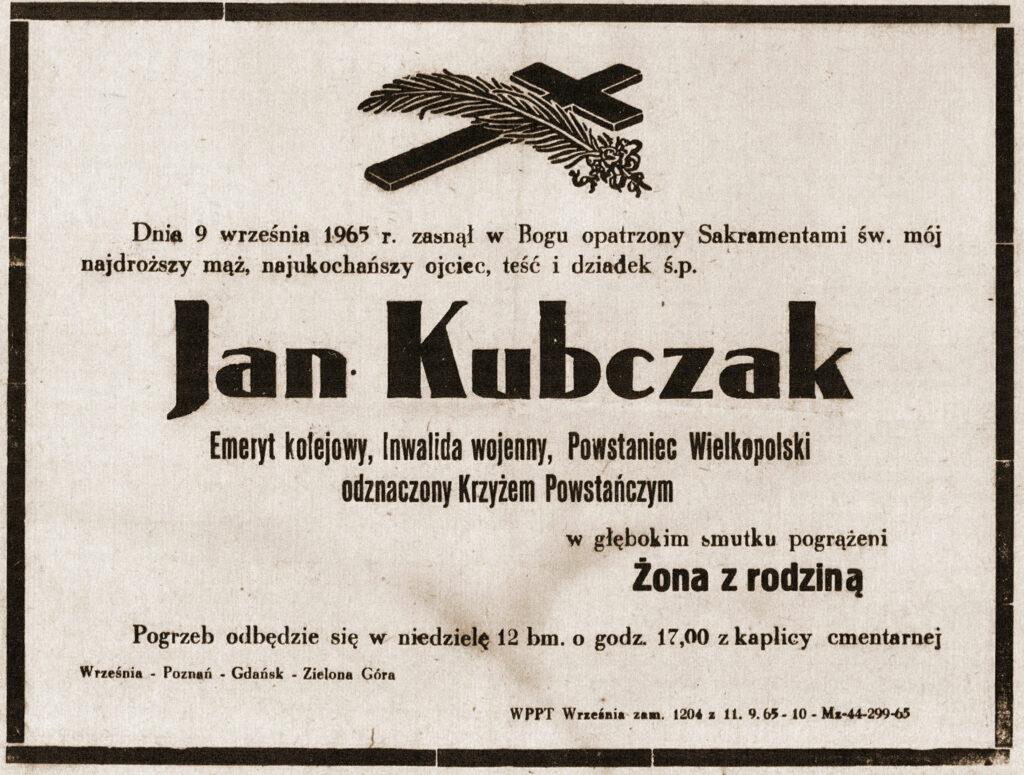 Jan Kubczak -  nekrolog (dokument udostępnił Remigiusz Maćkowiak)
