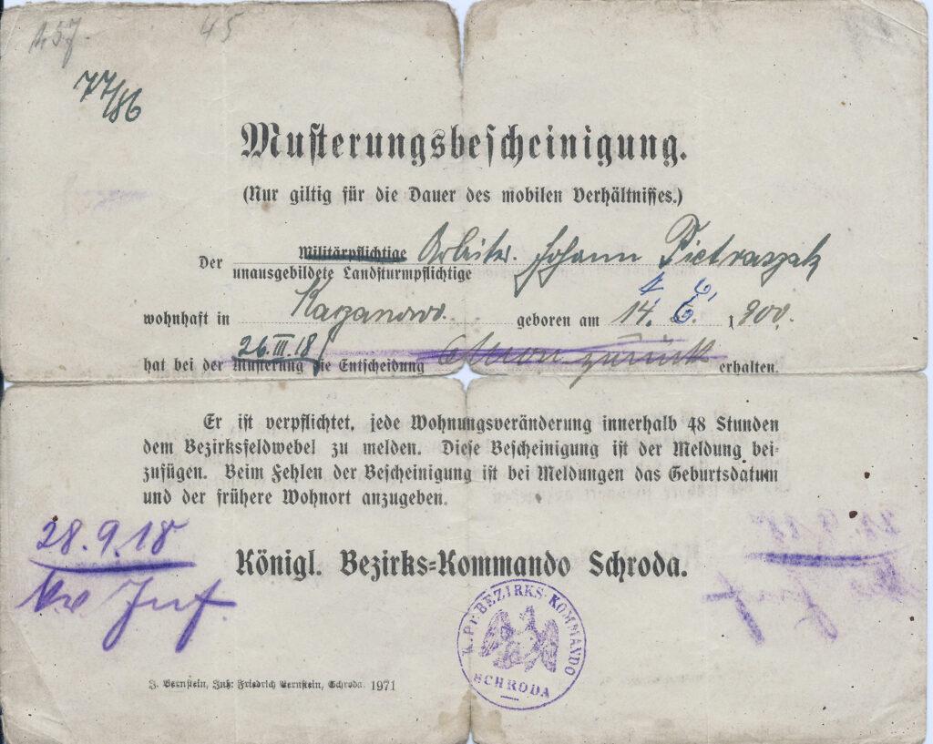 Jan Pietraszak - powołanie do wojska pruskiego (dokument udostępnił Remigiusz Maćkowiak)