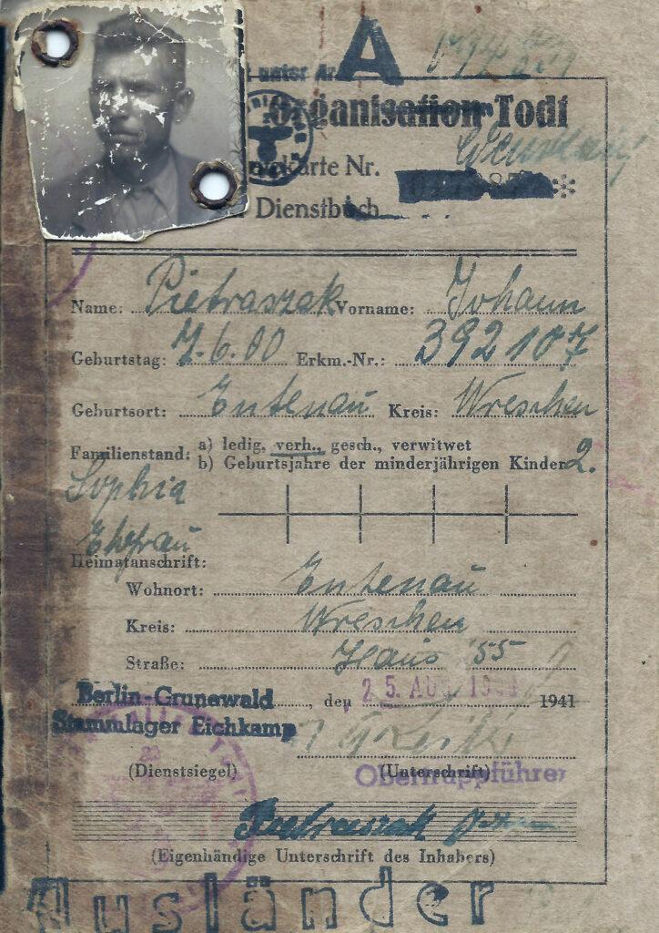 Jan Pietraszak - obóz pracy (dokument udostępnił Remigiusz Maćkowiak)