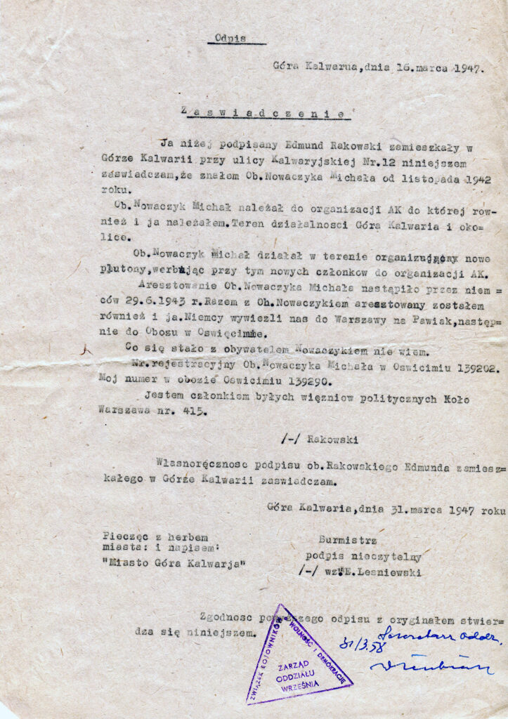 Michał Nowaczyk (dokument udostępnił Remigiusz Maćkowiak)