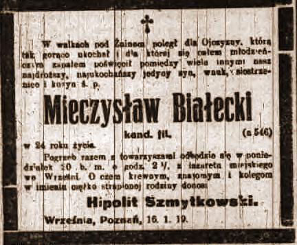 Mieczysław Białecki - Kurier Poznański nr 14 z dnia 18.01.1919