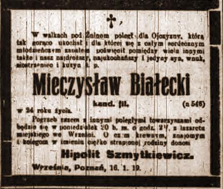 Mieczysław Białecki - Kurier Poznański nr 15 z dnia 19.01.1919