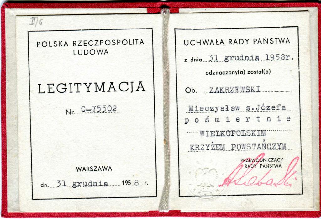 Mieczysław Zakrzewski  (dokument udostępnił Remigiusz Maćkowiak)