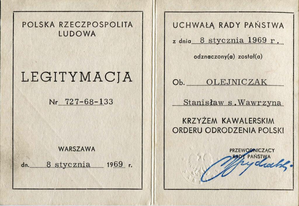 Stanisław Olejniczak (dokument udostępnił Remigiusz Maćkowiak)