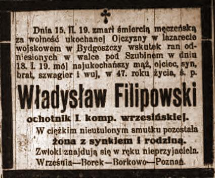 Władysław Filipowski - nekrolog w Kurierze Poznańskim nr 54 z 06.03.1919