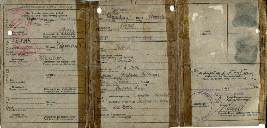 Władysław Kubiak - prawdziwe dokumenty (dokument udostępnił Remigiusz Maćkowiak)