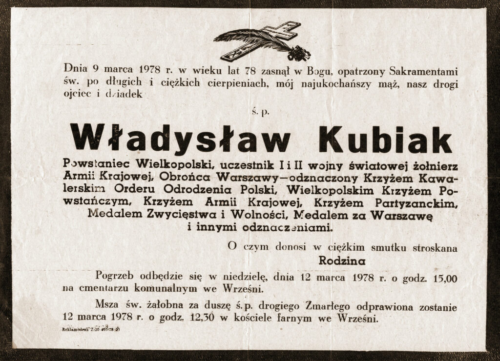 Władysław Kubiak - nekrolog (dokument udostępnił Remigiusz Maćkowiak)