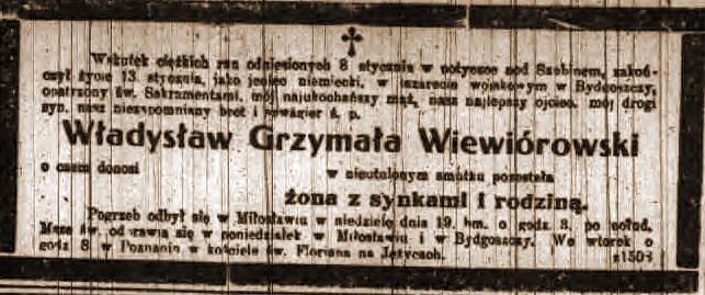 Wiewiórowski Władysław - Kurier Poznański nr 16 z dnia 1919.01.21