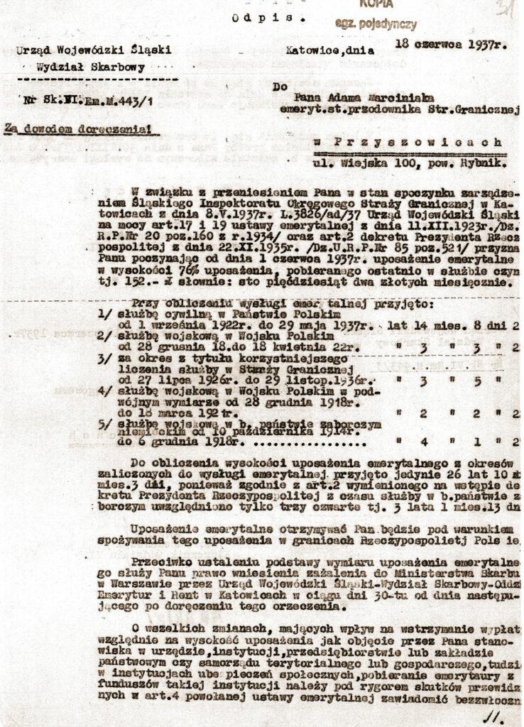 Adam Marciniak (dokument udostępnił Remigiusz Maćkowiak)