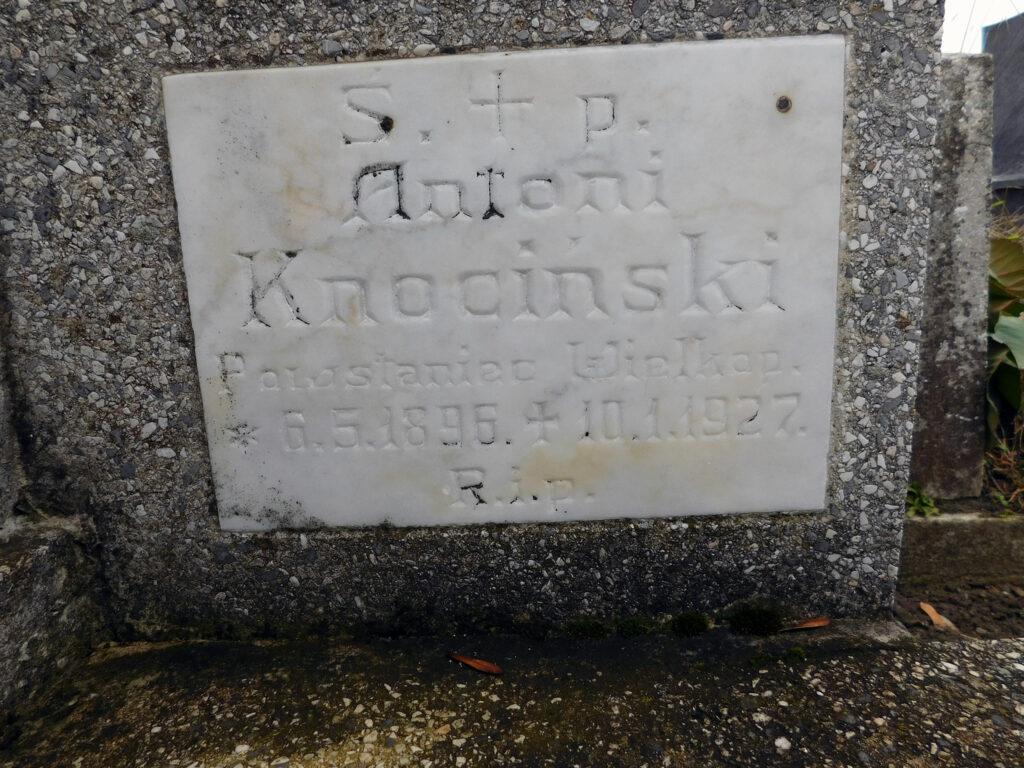 Antoni Knociński - cmentarz parafialny we Wrześni (zdjęcie udostępnił Remigiusz Maćkowiak)