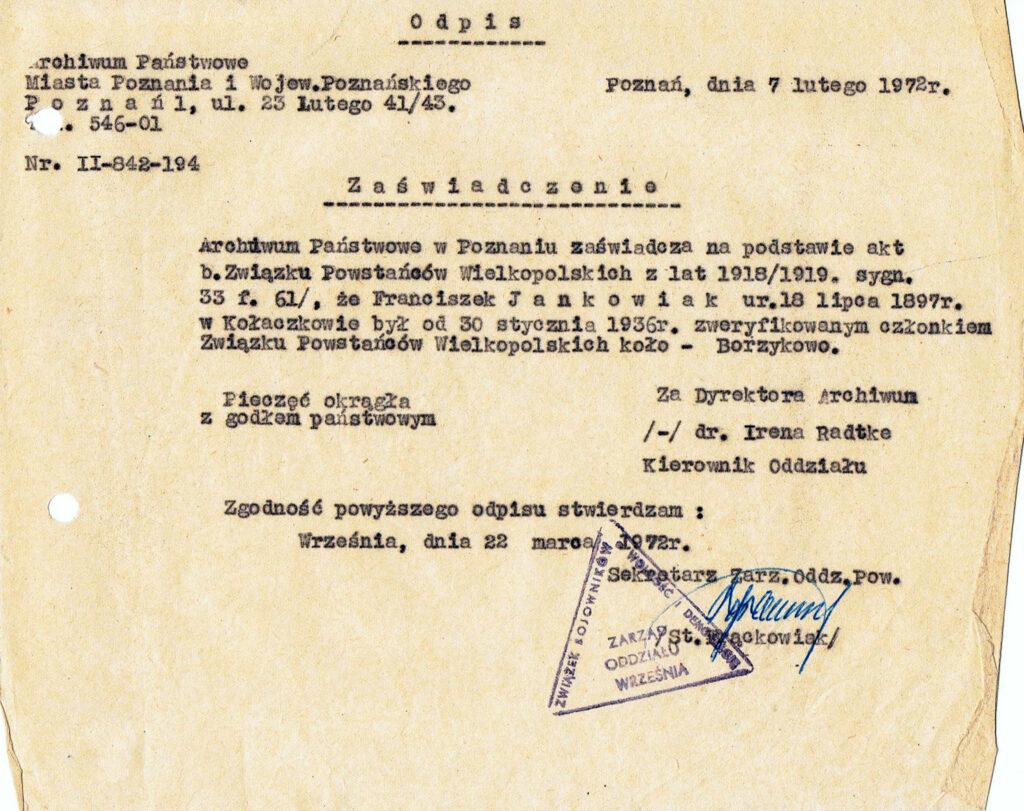 Franciszek Jankowiak - zaświadczenie o zweryfikowaniu (dokument udostępnił Remigiusz Maćkowiak)