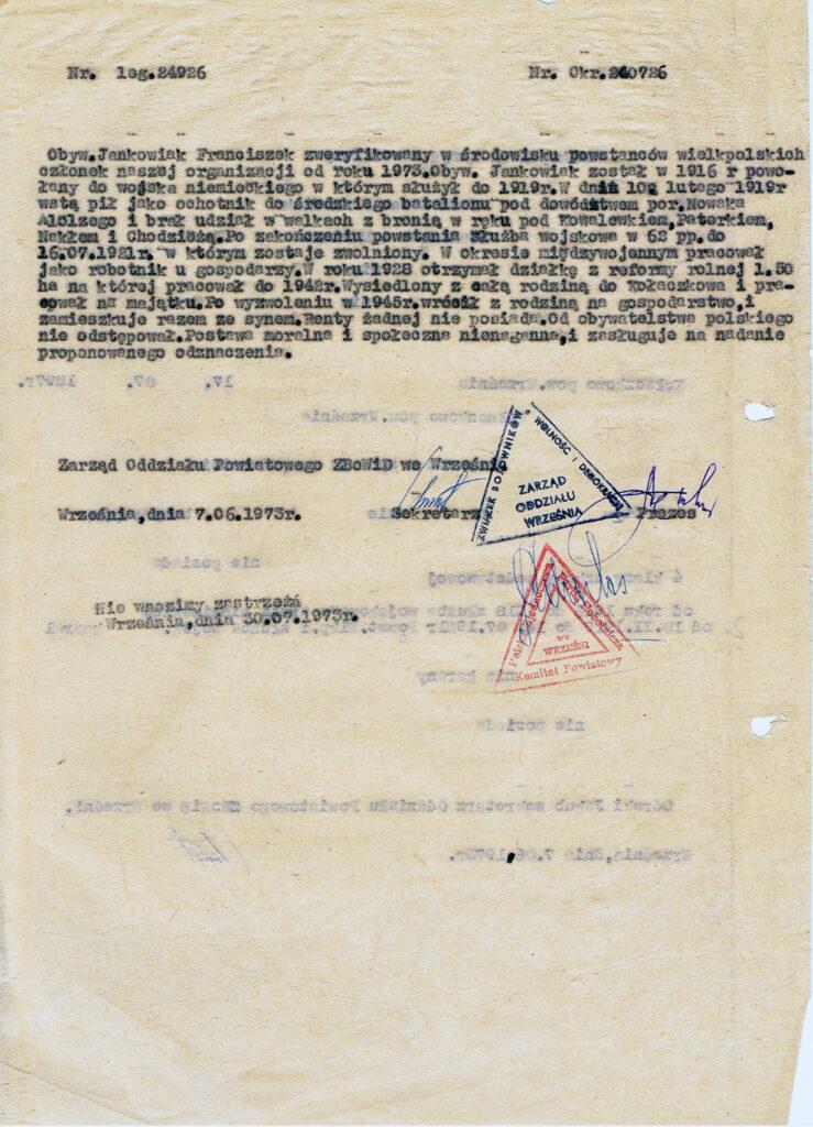 Franciszek Jankowiak - wniosek o nadanie orderu Wielkopolskiego Krzyża Powstańczego (dokument udostępnił Remigiusz Maćkowiak)