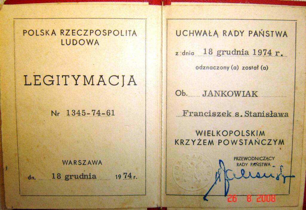 Franciszek Jankowiak  (dokument udostępnił Remigiusz Maćkowiak)