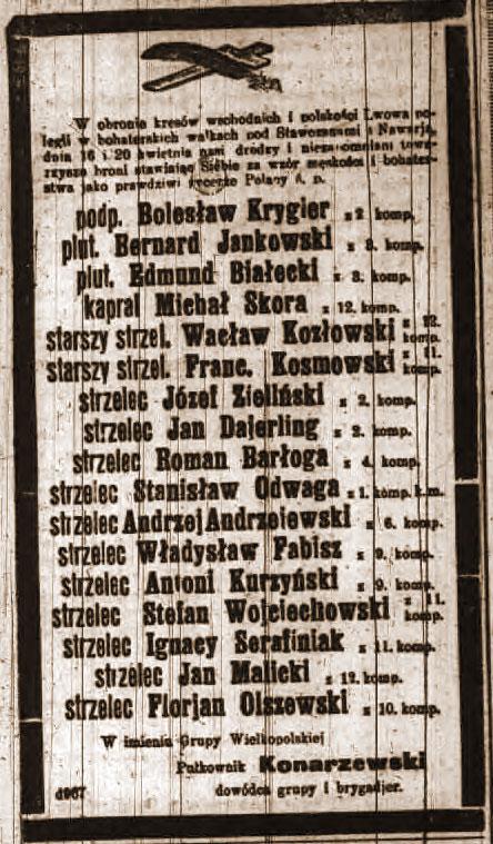 Franciszek Kosmowski - wycinek z Kuriera Poznańskiego nr 100 z dnia 30.04.1919 roku