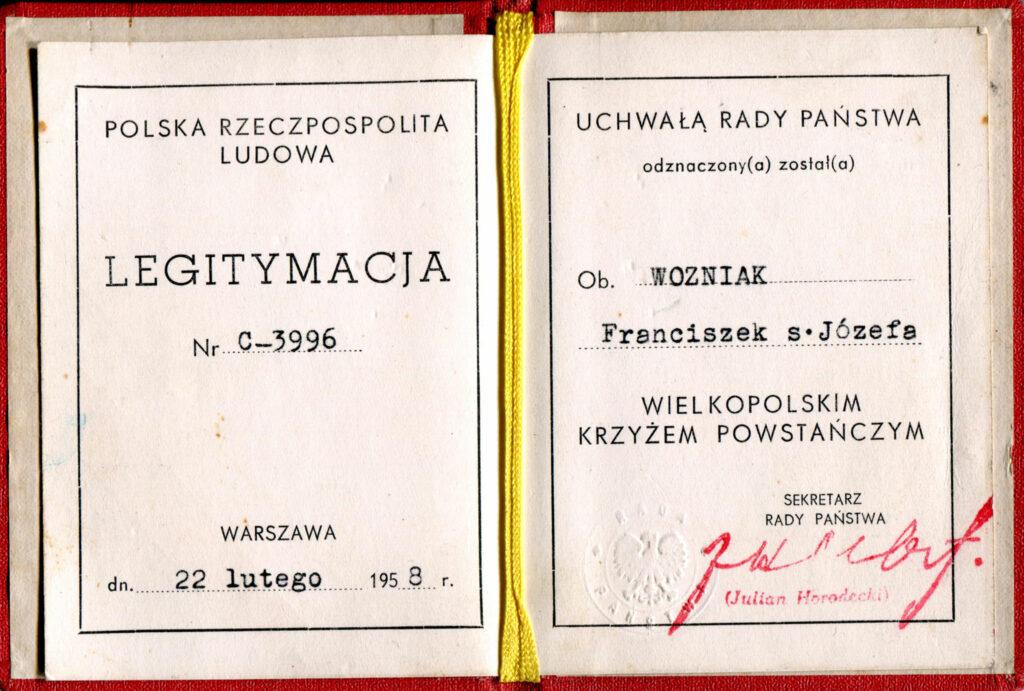 Franciszek Woźniak (dokument udostępnił Remigiusz Maćkowiak)