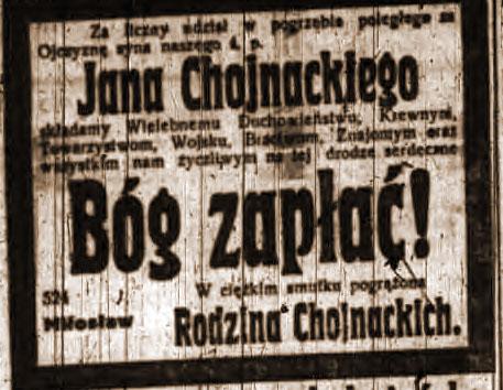 Jan Chojnacki - Dziennik Poznański nr 11 z dnia 15.01.1919