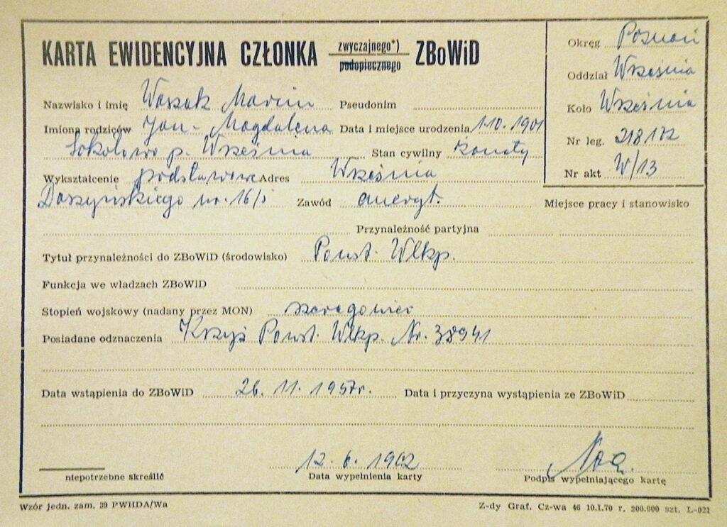 Marcin Waszak  (dokument udostępnił Remigiusz Maćkowiak)
