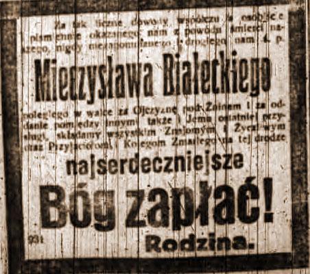 Mieczysław Białecki - Dziennik Poznański nr 20 z dnia 25.01.1919