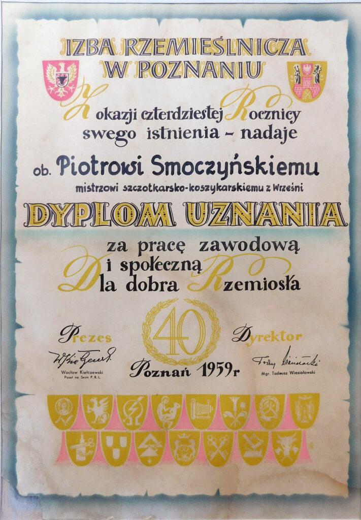 Piotr Smoczyński - dyplom uznania