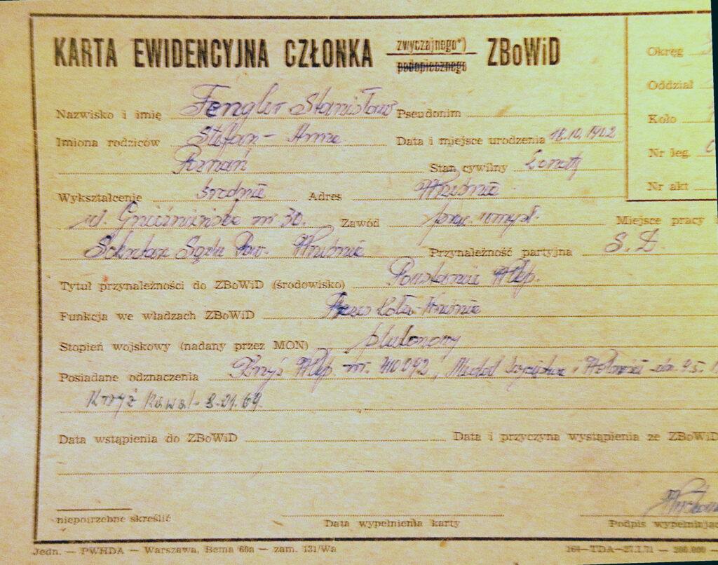 Stanisław Fengler (dokument udostępnił Remigiusz Maćkowiak)