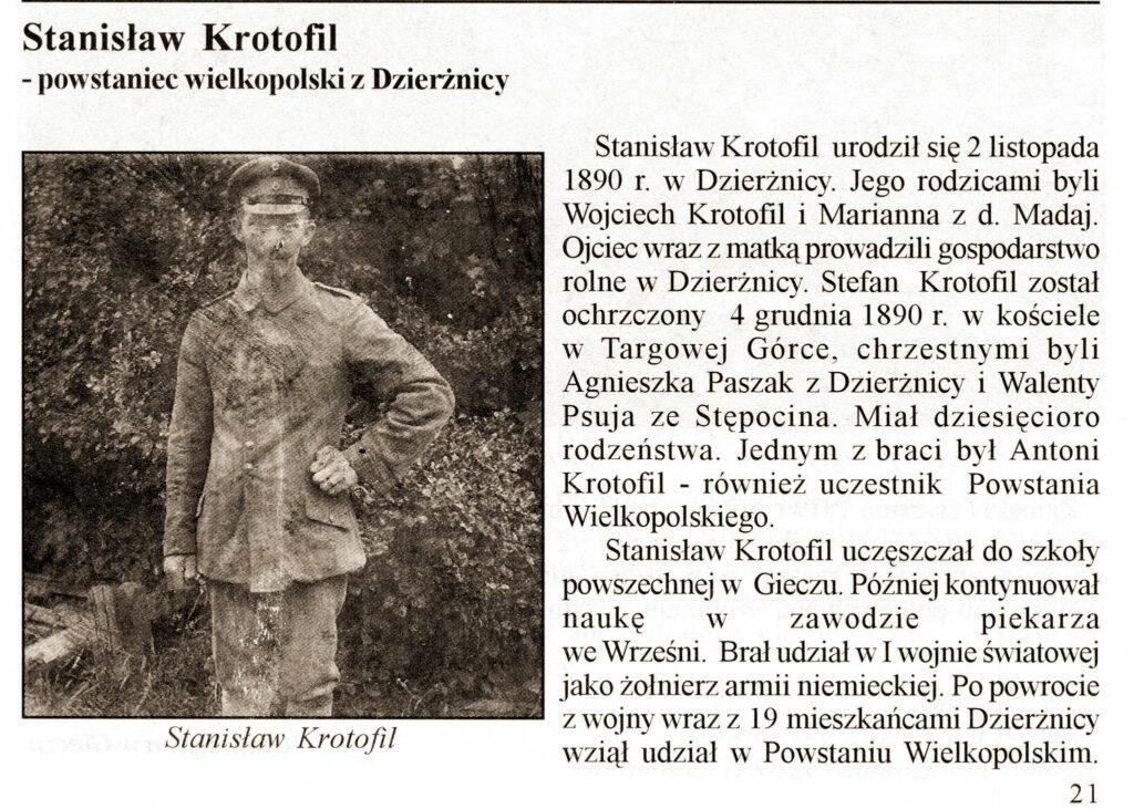 Stanisław Krotofil - życiorys powstańca opracowany przez Hannę Krotofil
