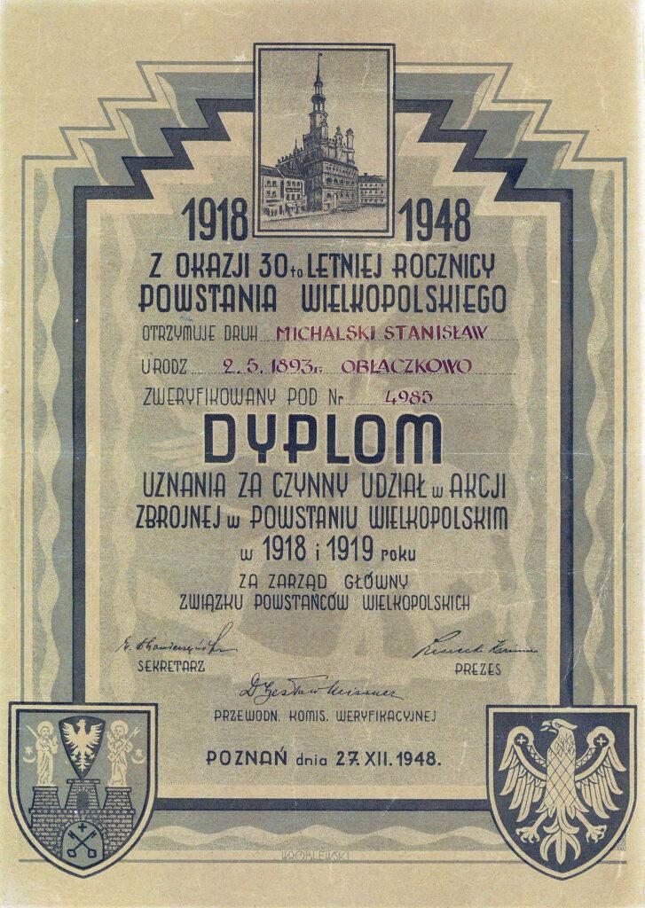 Stanisław Michalski - dyplom (dokument udostępnił Tomasz Kałużny)