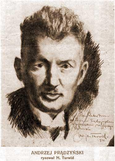 Portret Andrzeja Prądzyńskiego narysowany przez Mariana Turwida