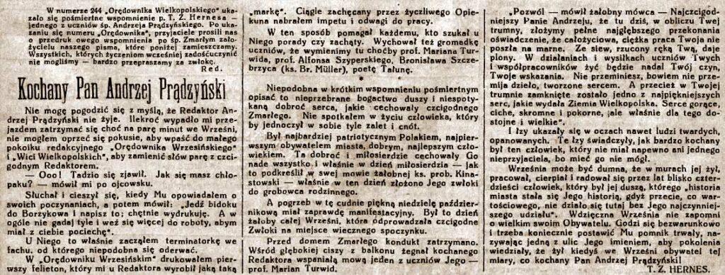 Andrzej Prądzyński - Orędownik Wrzesiński nr 140 z 06.12.1938