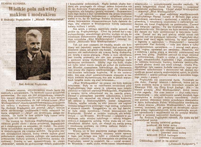 Andrzej Prądzyński - Orędownik Wrzesiński nr 126 z 01.11.1938