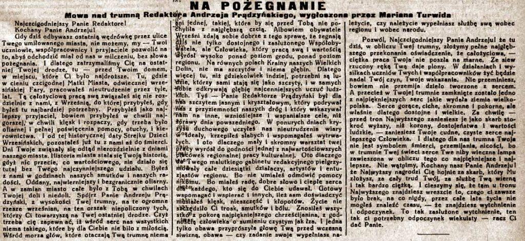 Andrzej Prądzyński - Orędownik Wrzesiński nr 120 z 18.10.1938 cd.
