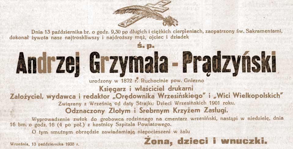 Andrzej Prądzyński - Orędownik Wrzesiński nr 119 z 15.10.1938