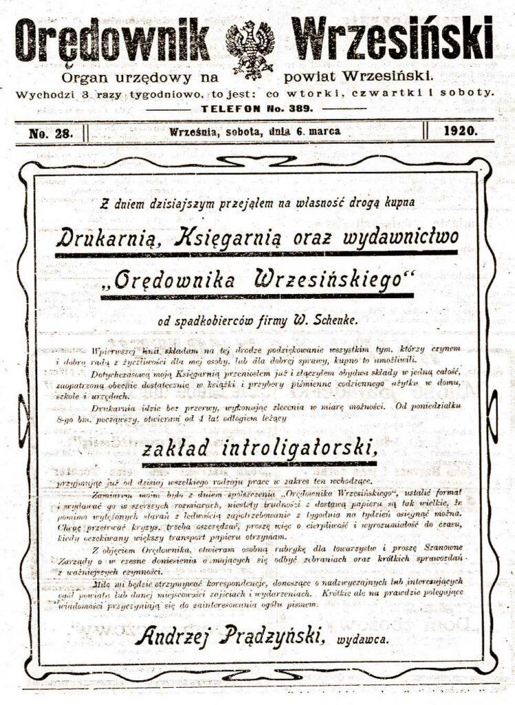 Andrzej Prądzyński - Orędownik Wrzesiński nr 28 z 06.03.1920