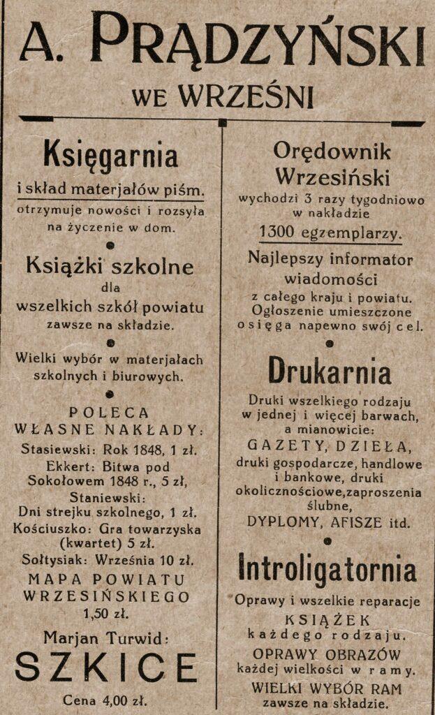 Andrzej Prądzyński - ogłoszenie pochodzi z Katalogu Biblioteki Towarzystwa Czytelni Ludowych