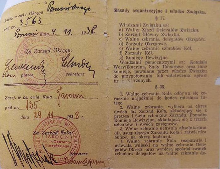 Czesław Purol (dokument udostępniła wnuczka Aldona Błażejewska)