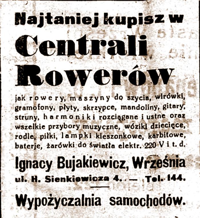 Ignacy Bujakiewicz - ogłoszenie w Orędowniku Wrzesińskim nr 148 z dnia 19.12.1931 r.