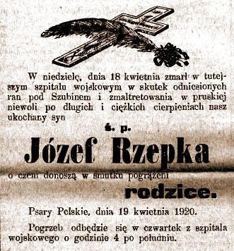 Rzepka Józef - Orędownik Wrzesiński z dnia 20.04.1920 nr 46