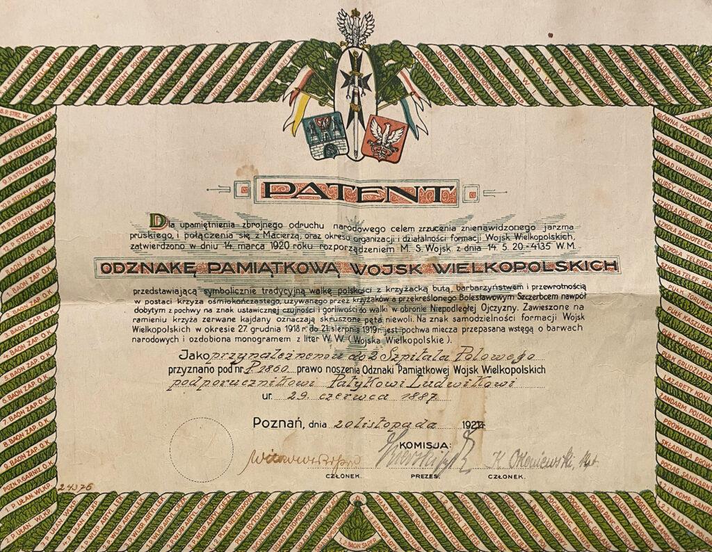 Ludwik Patyk (dokument udostępnił Remigiusz Maćkowiak)